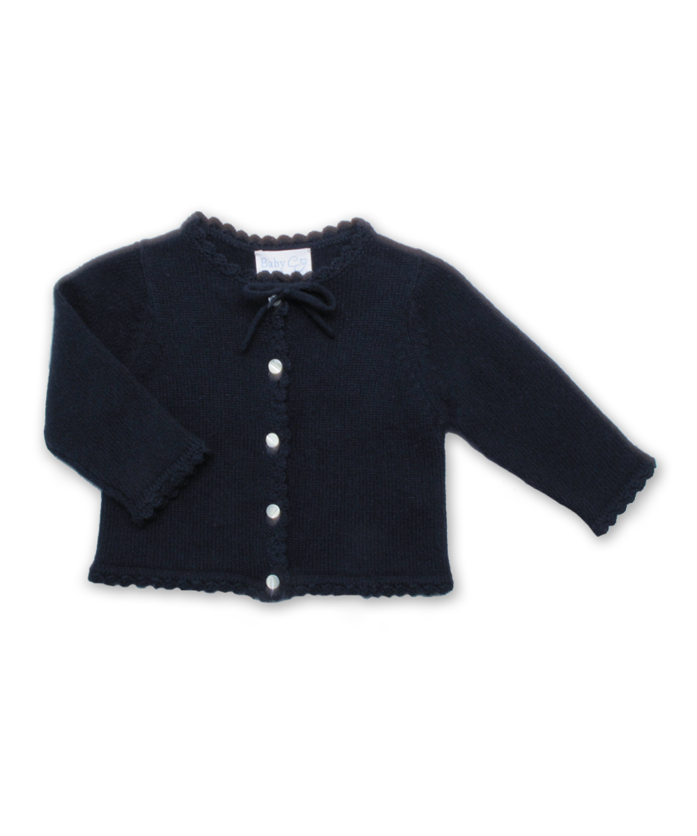 Cashmere Cardigan with Crochet Trim in Navy