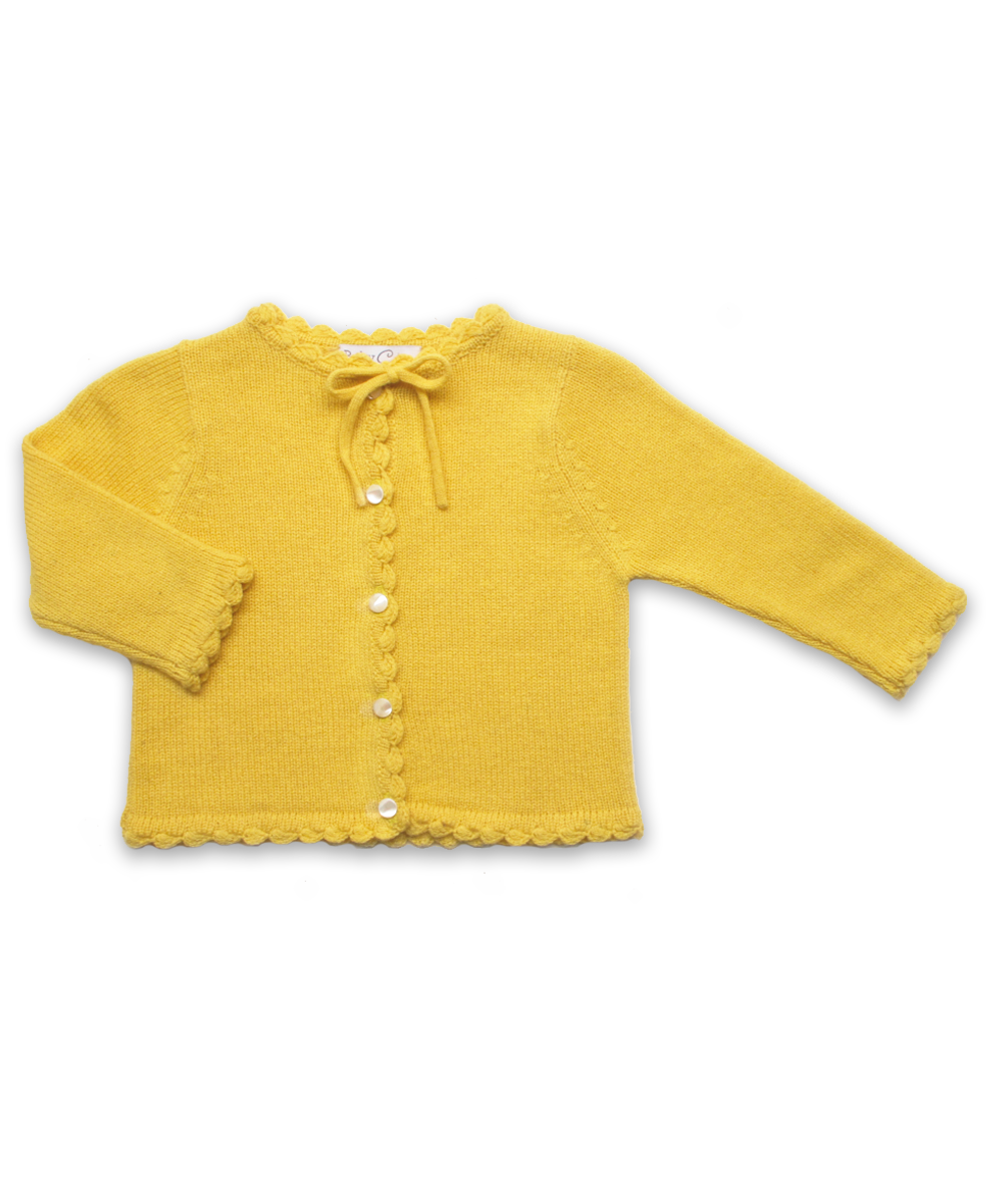 Cashmere Cardigan with Crochet Trim in Yellow