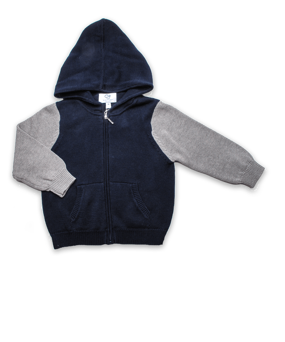 Luxury Cotton Colorblock Zip Hoodie in Navy/Silver