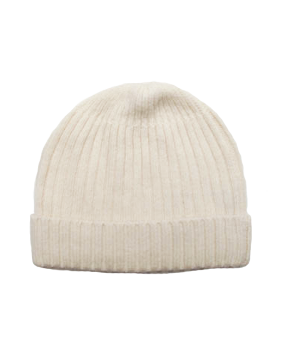 Cashmere Ribbed Hat in Creme