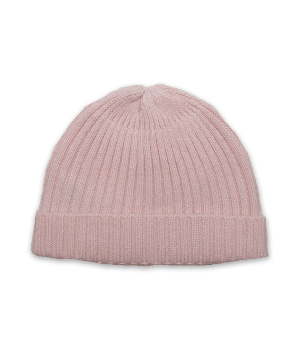 Cashmere Ribbed Hat in Pink