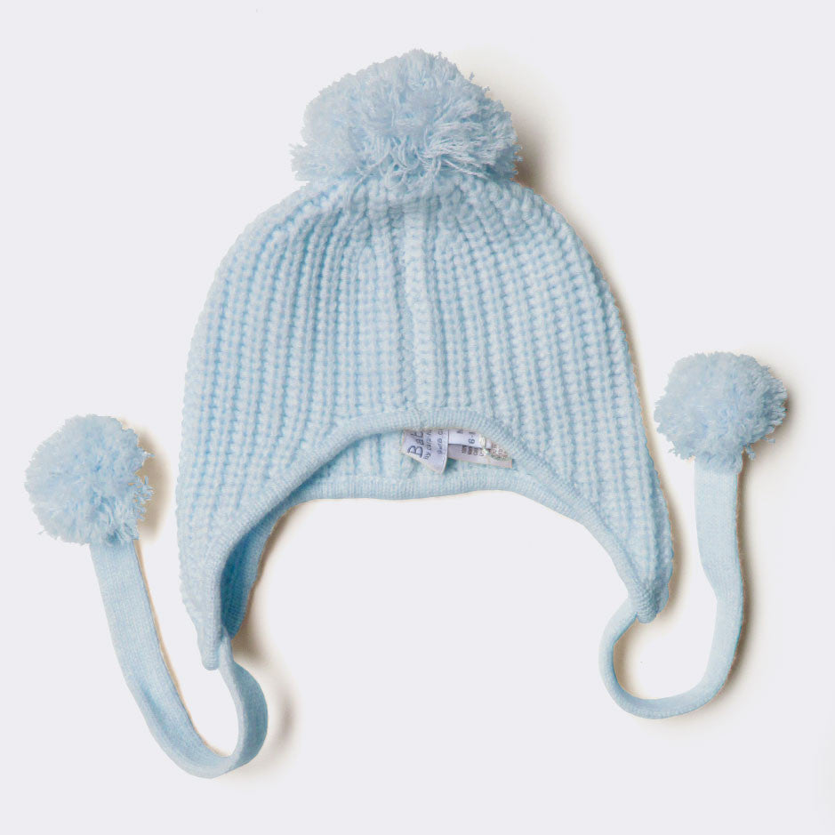 Peruvian pom-pom hat, blue