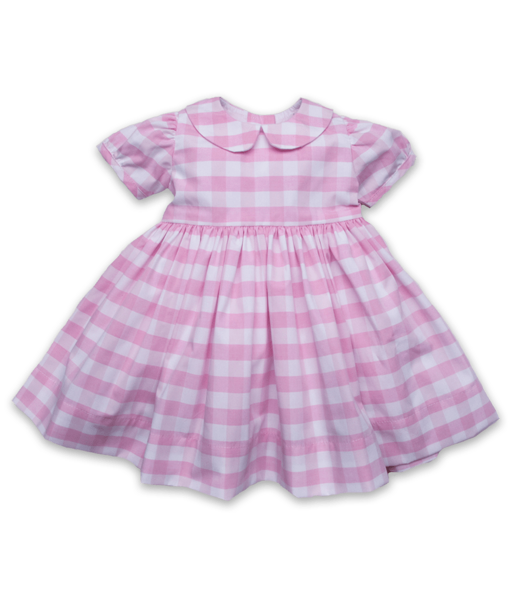 Cotton Rachel Dress in Pink Bold Check