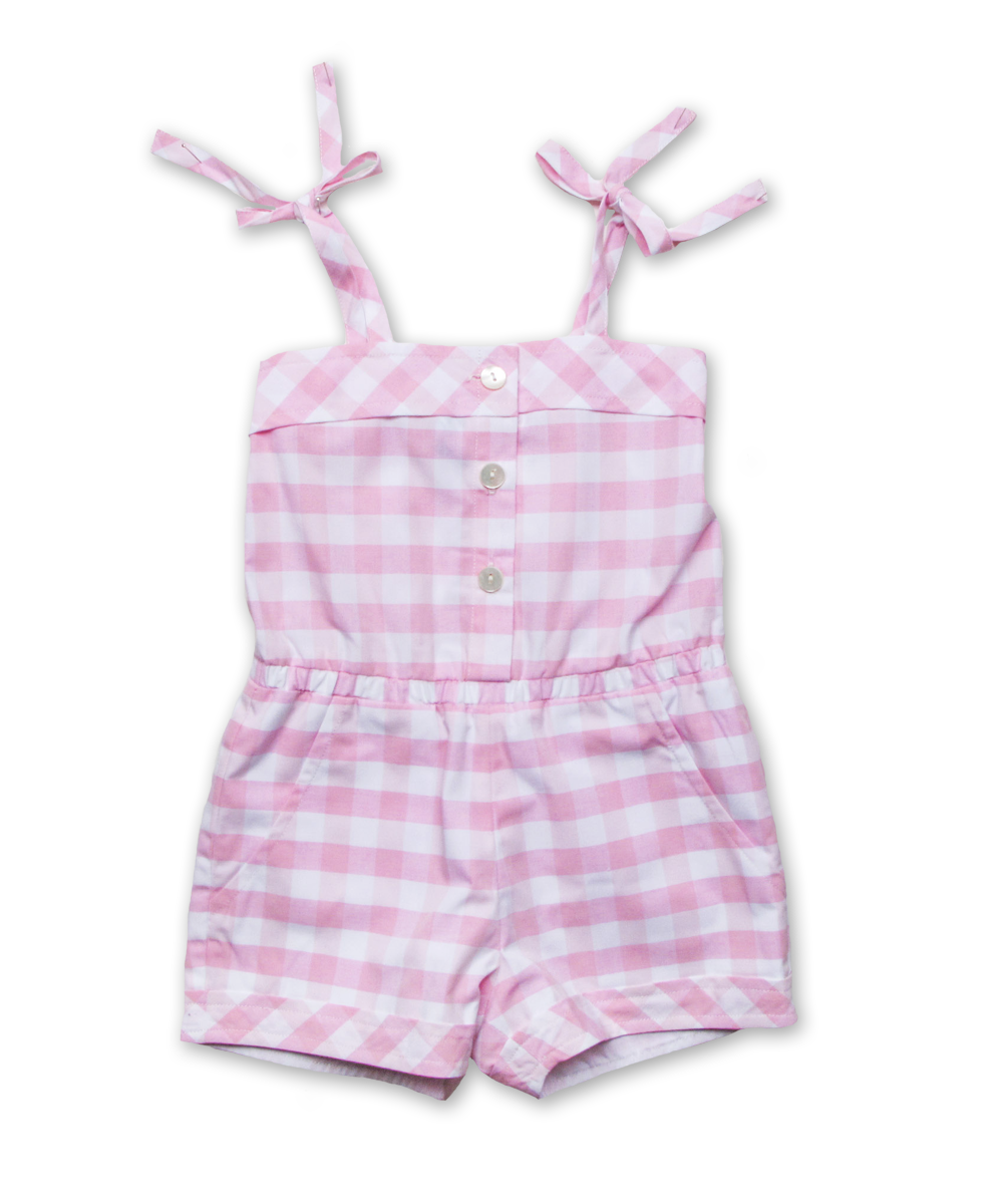 Sun Romper in Pink Bold Check