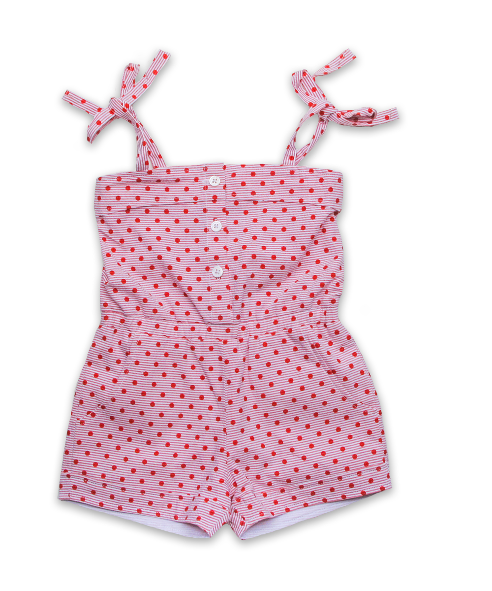 Sun Romper in Red Dot