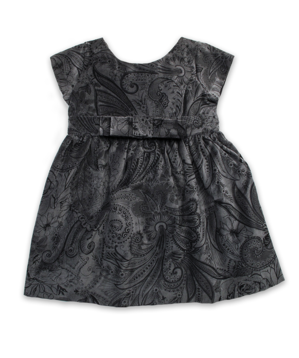 Scarlet Dress in Charcoal Velvet Paisley