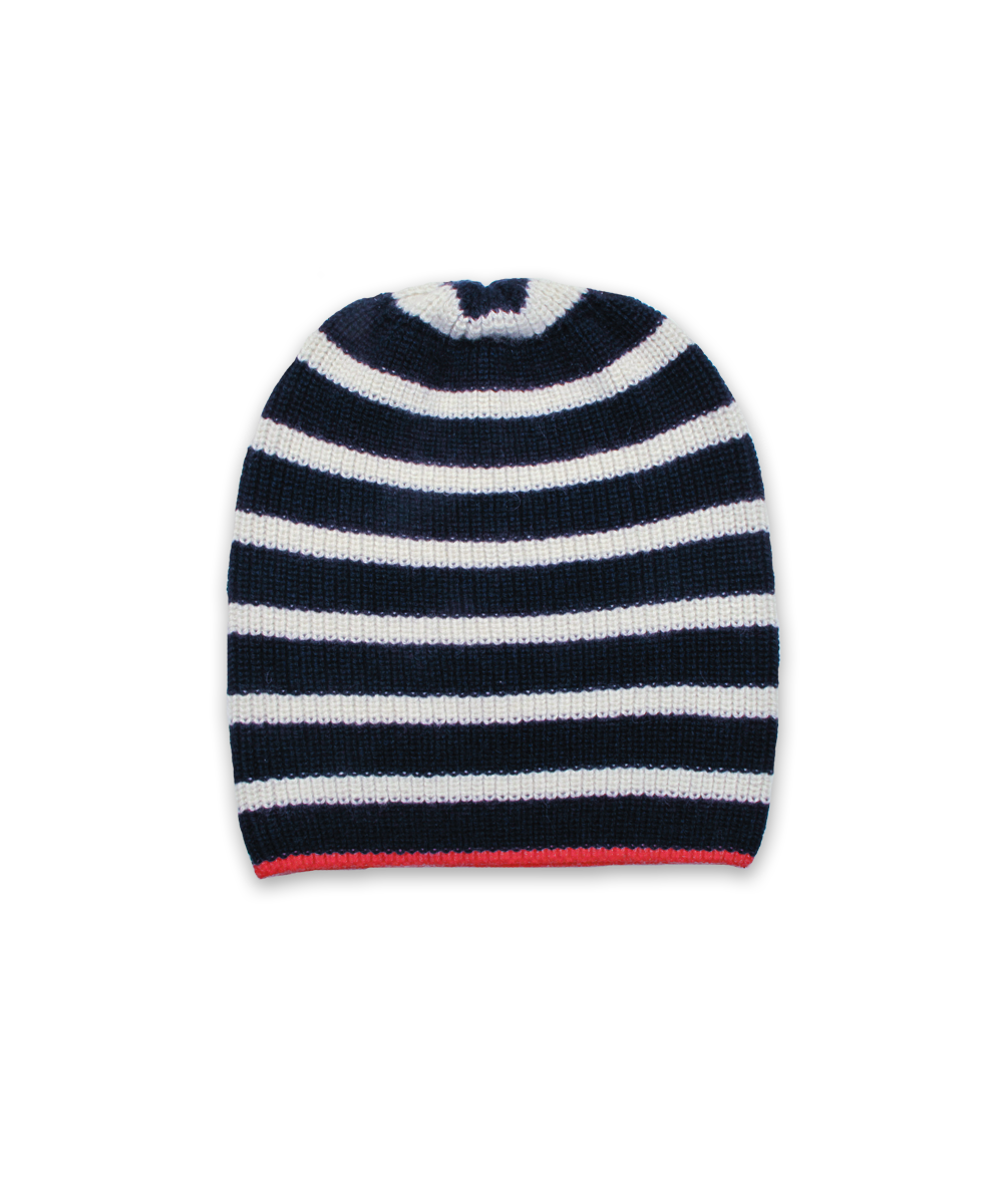 Cardigan Stitch Hat in Navy/Creme/Red