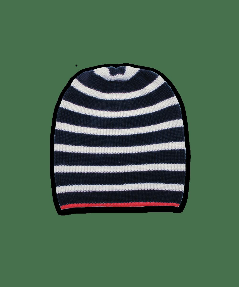 Cardigan Stitch Hat in Navy/Creme/Red