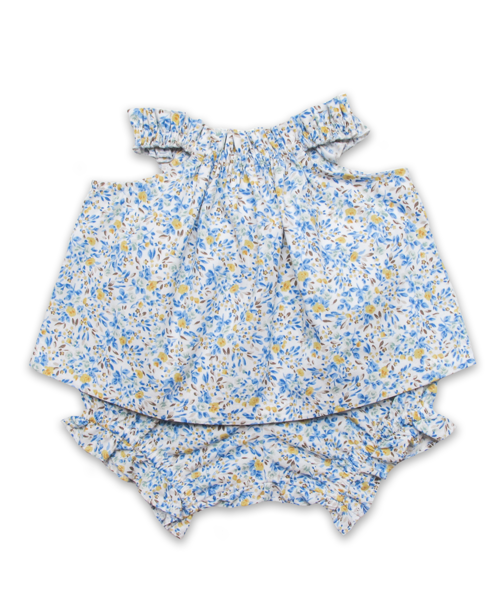 Peasant Top and Panty Set in Blue Blossom