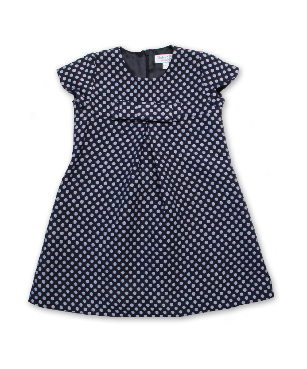 Dress with Bow in Navy/Silver Dot