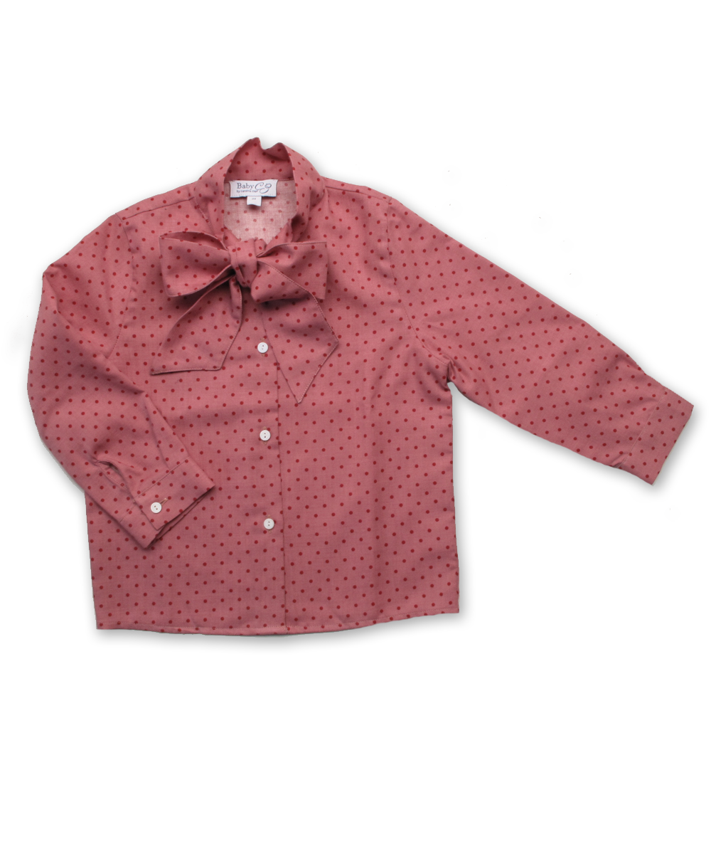 Blouse with Bow in Red Dot