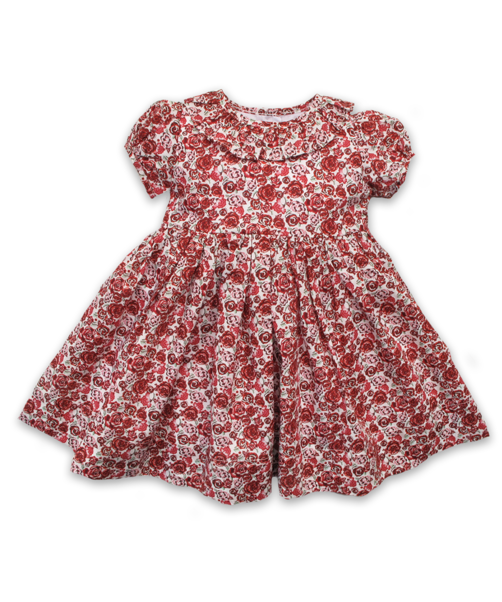 Dress with Ruffle Collar in Liberty Palace Garden