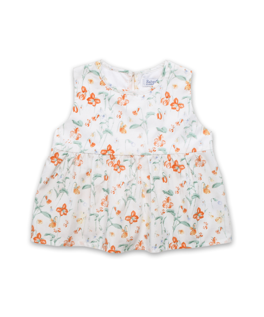 Ava Top in Dainty Floral Coral