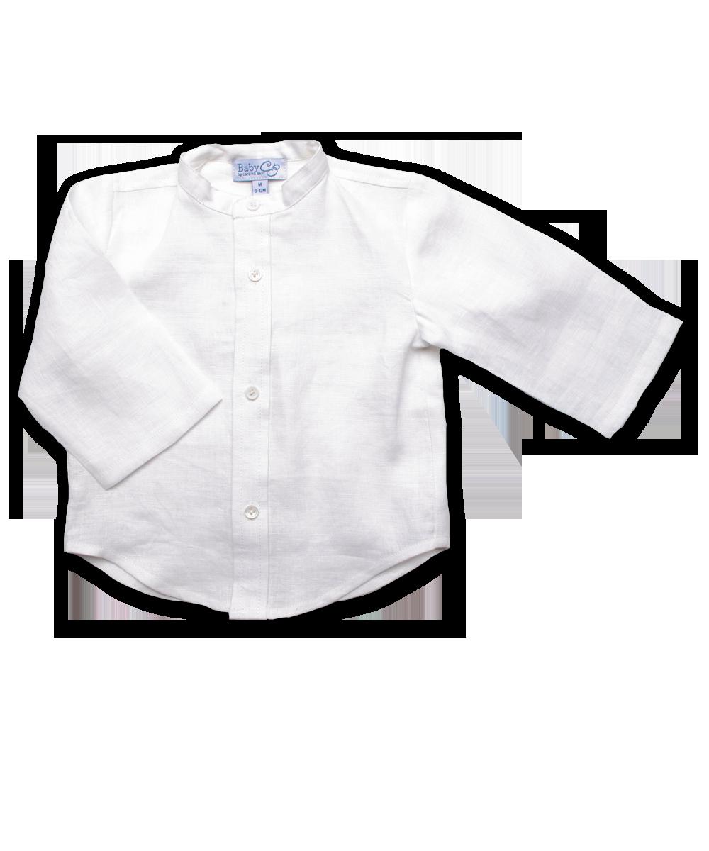 Boy's Mandarin Shirt in White Linen