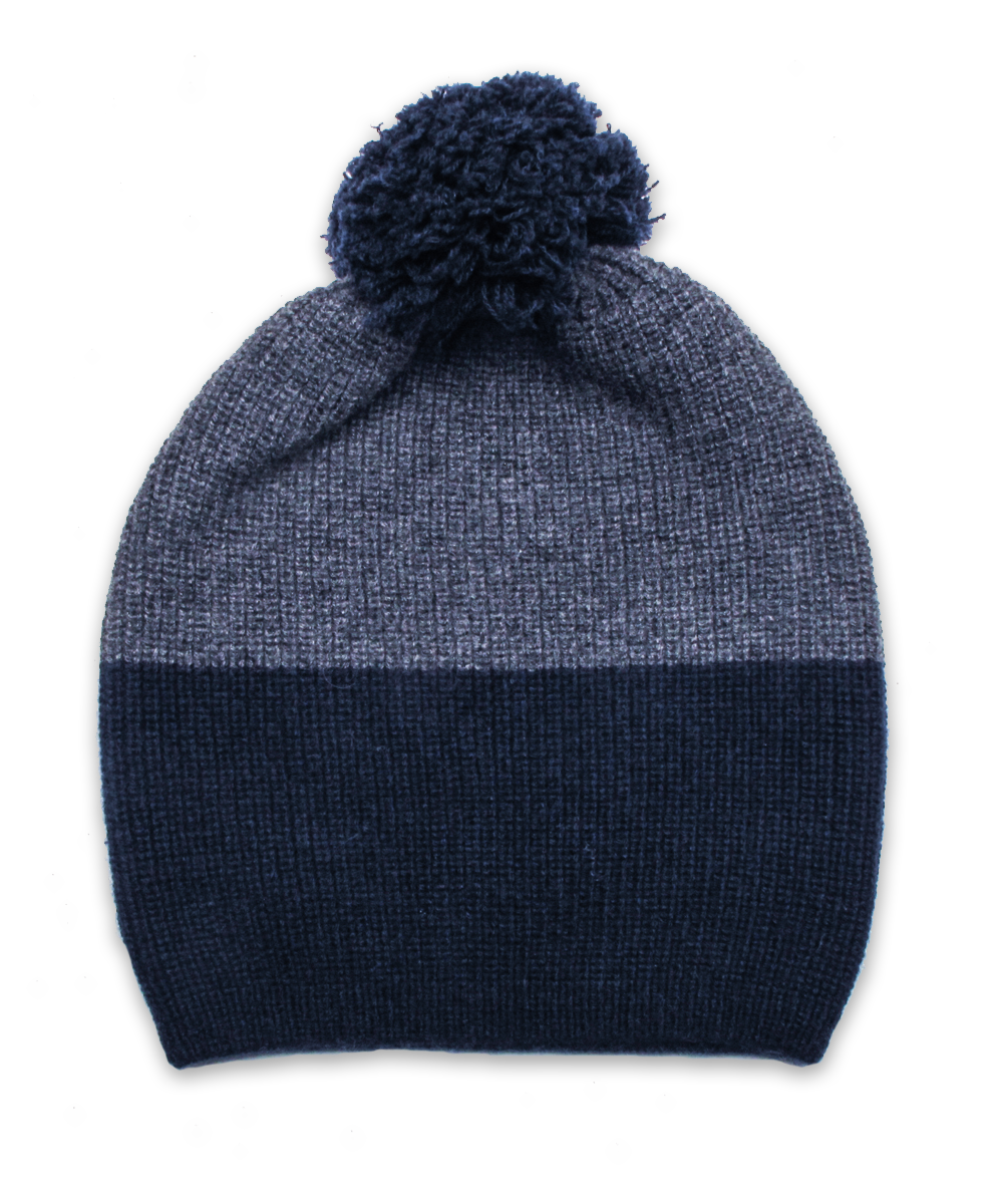 Cashmere Colorblock Ribbed Hat with Pom Pom
