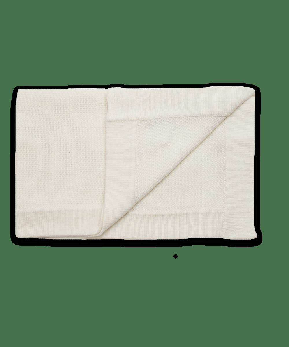 Cashmere Popcorn Stitch Blanket in Creme