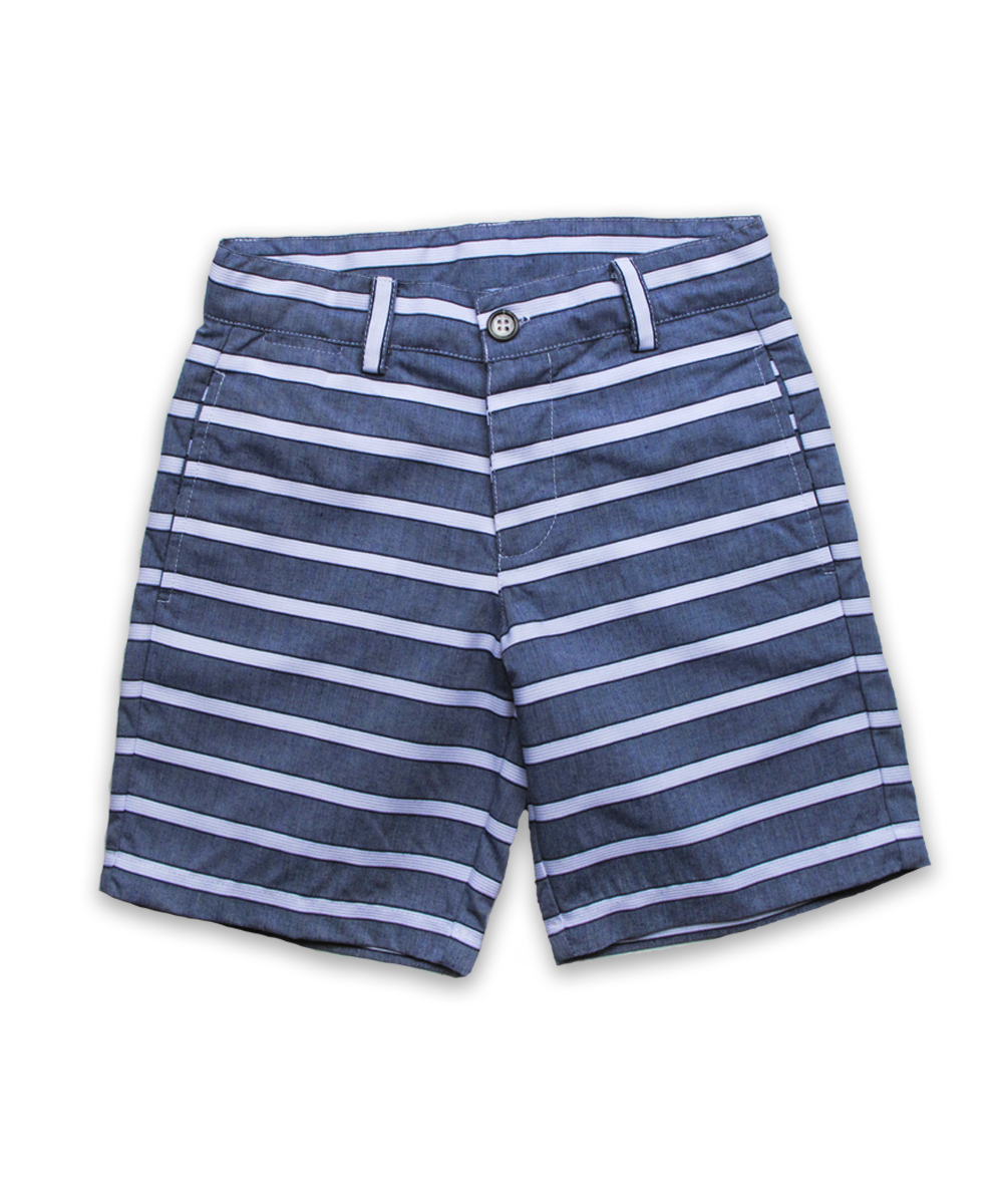 Sporty Short in Navy/White Stripe