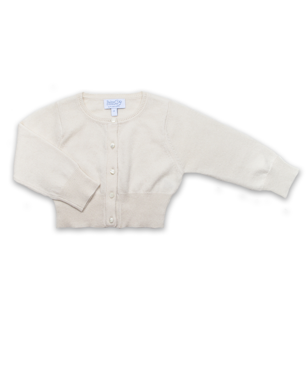 Cropped Cashmere Cardigan in Creme