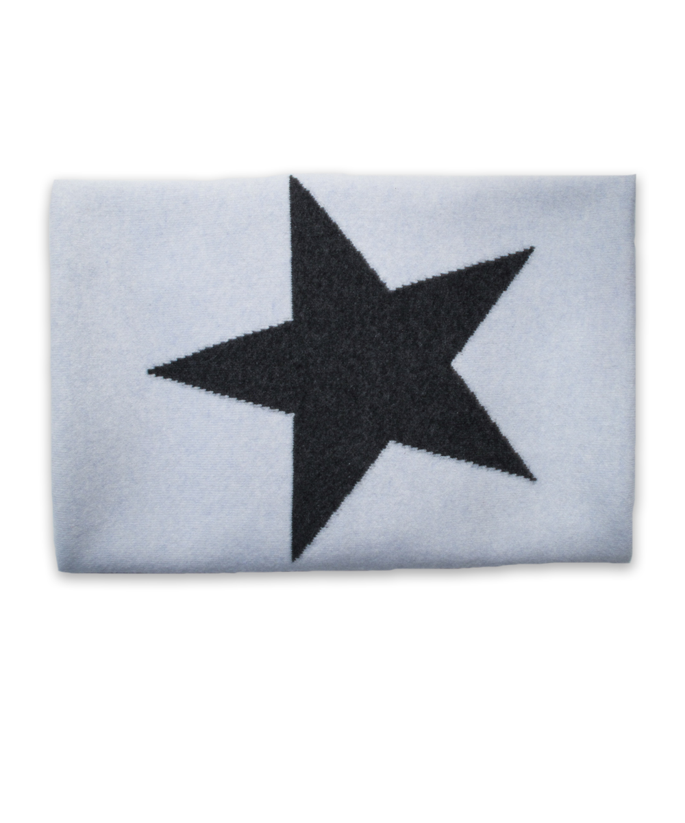 Cashmere Blanket with Star in Blue and Derby Gray