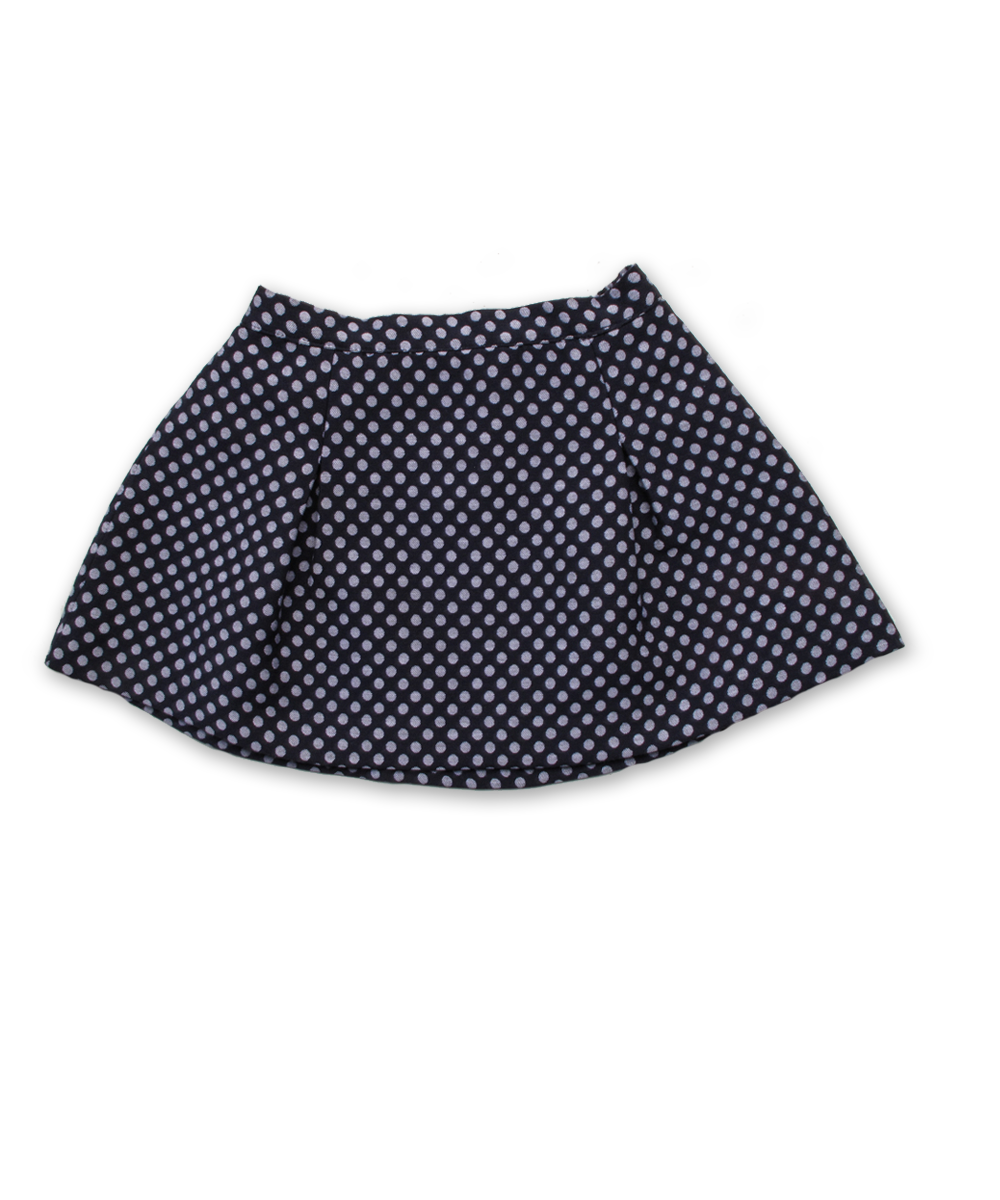 Two Pleat Skirt in Navy/Silver Dot