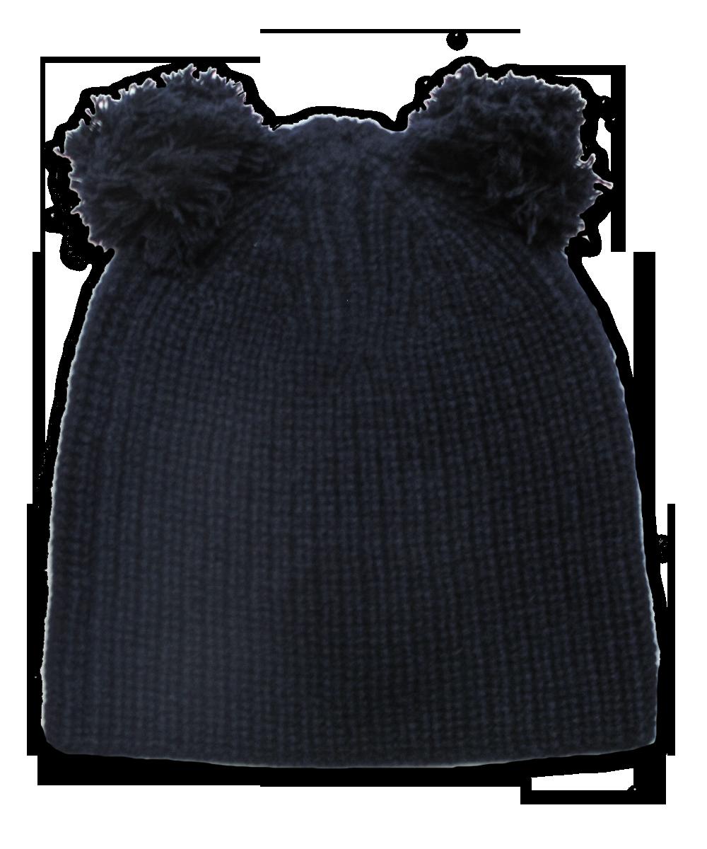 Cardigan Stitch Hat w/ Double Pom in Navy