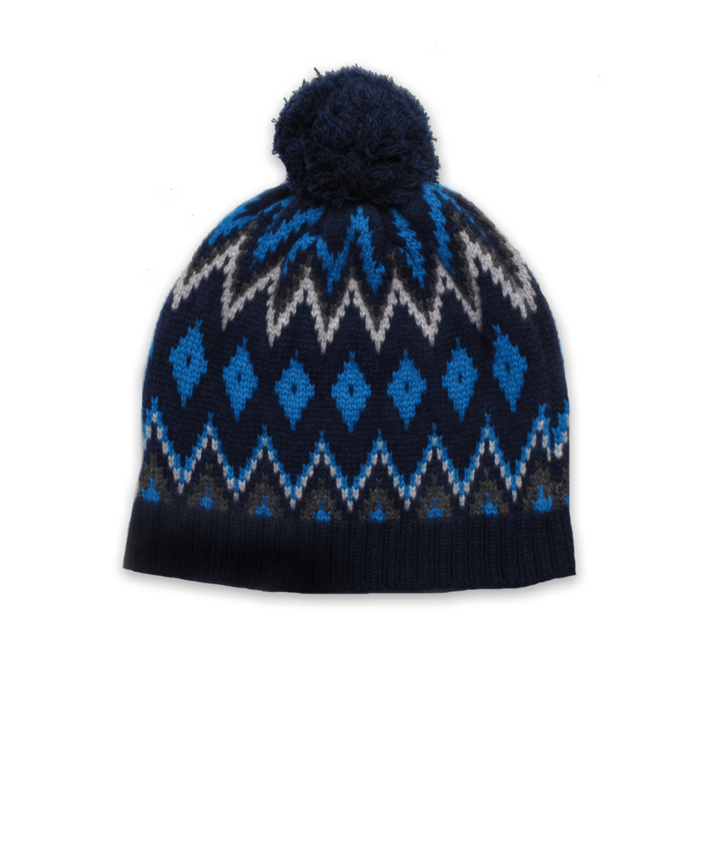 Pom Hat in Navy/Turquoise Intarsia
