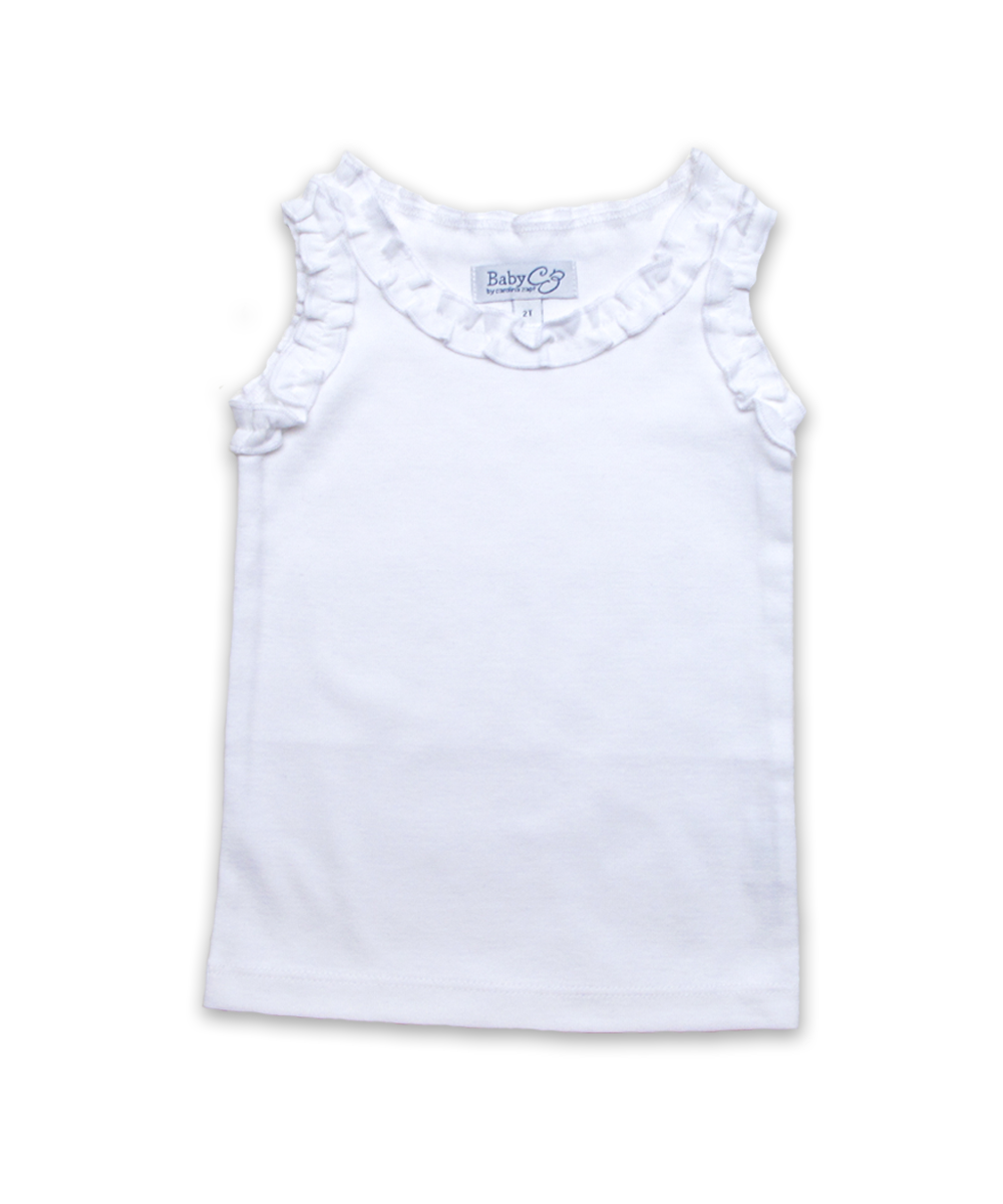 Ruffle Tank in White