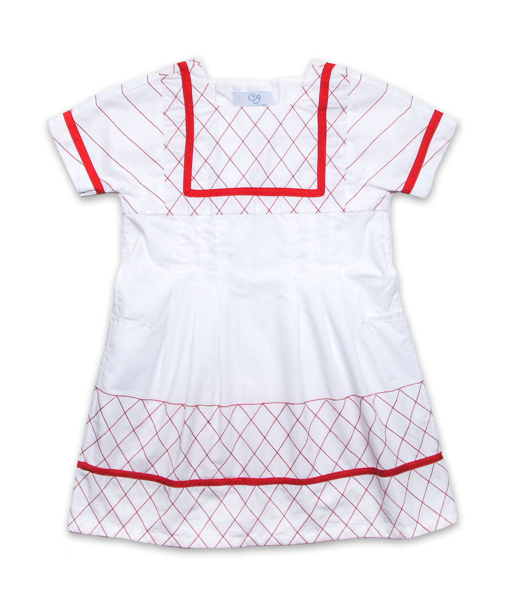 Rosalie Dress in White/Red