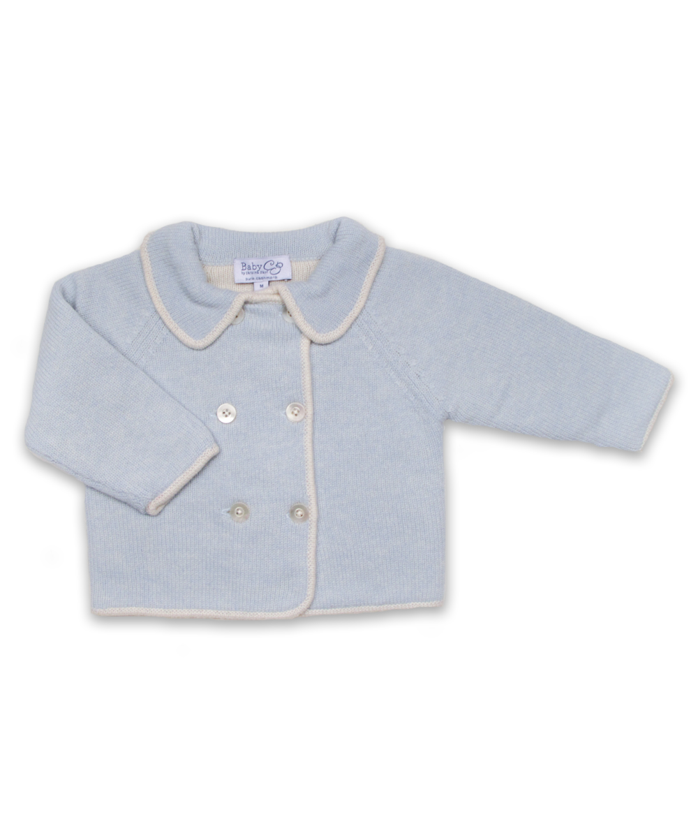 Double-Breast Cardigan in Blue and Creme