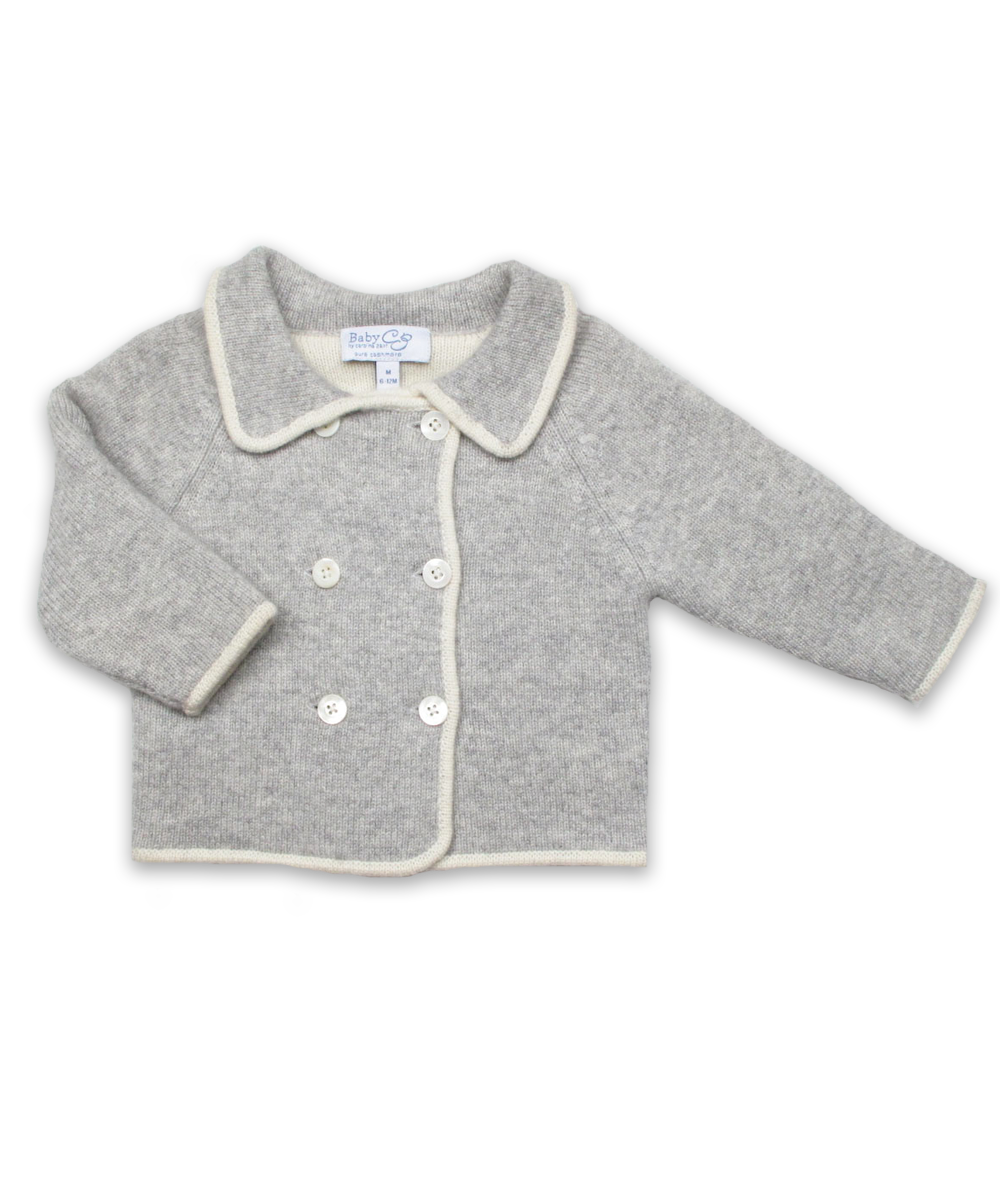 Baby Boy Cashmere Cardigan in Silver/Creme