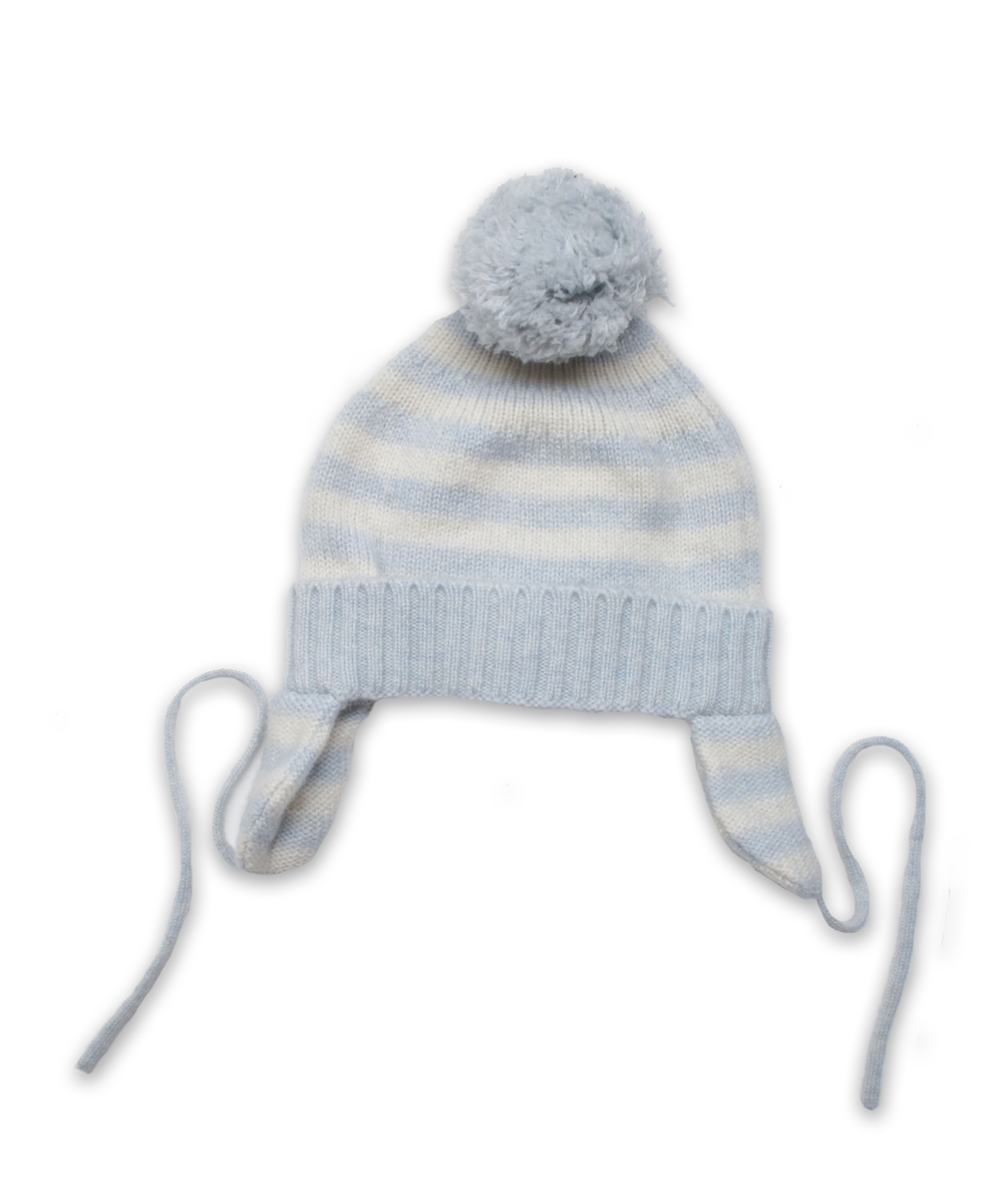 Cashmere Pom Hat in Blue and Creme