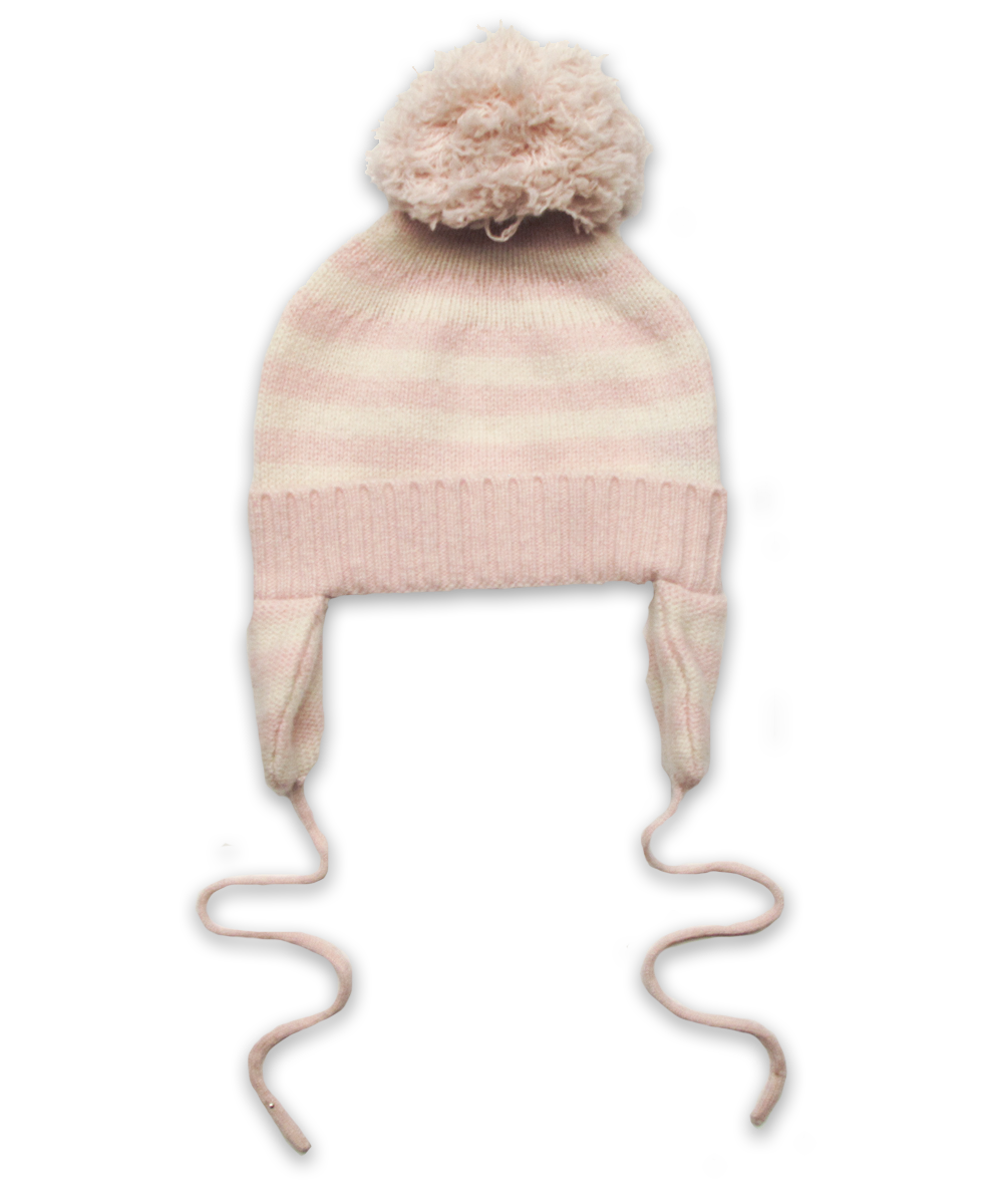 Cashmere Pom Hat in Pink/Creme