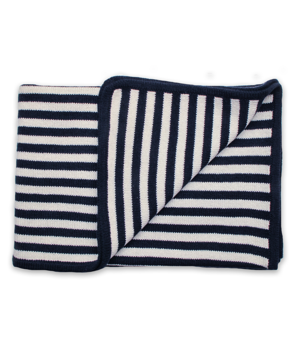 Cashmere Striped Blanket in Navy and Creme