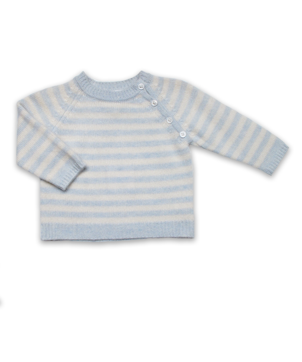 Striped Raglan Sweater in Blue/Creme