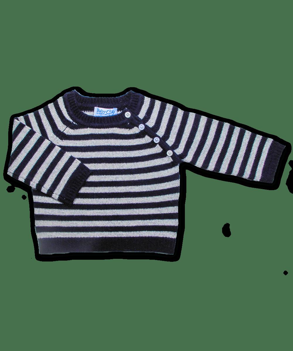 Cashmere Raglan Sweater in Navy/Silver