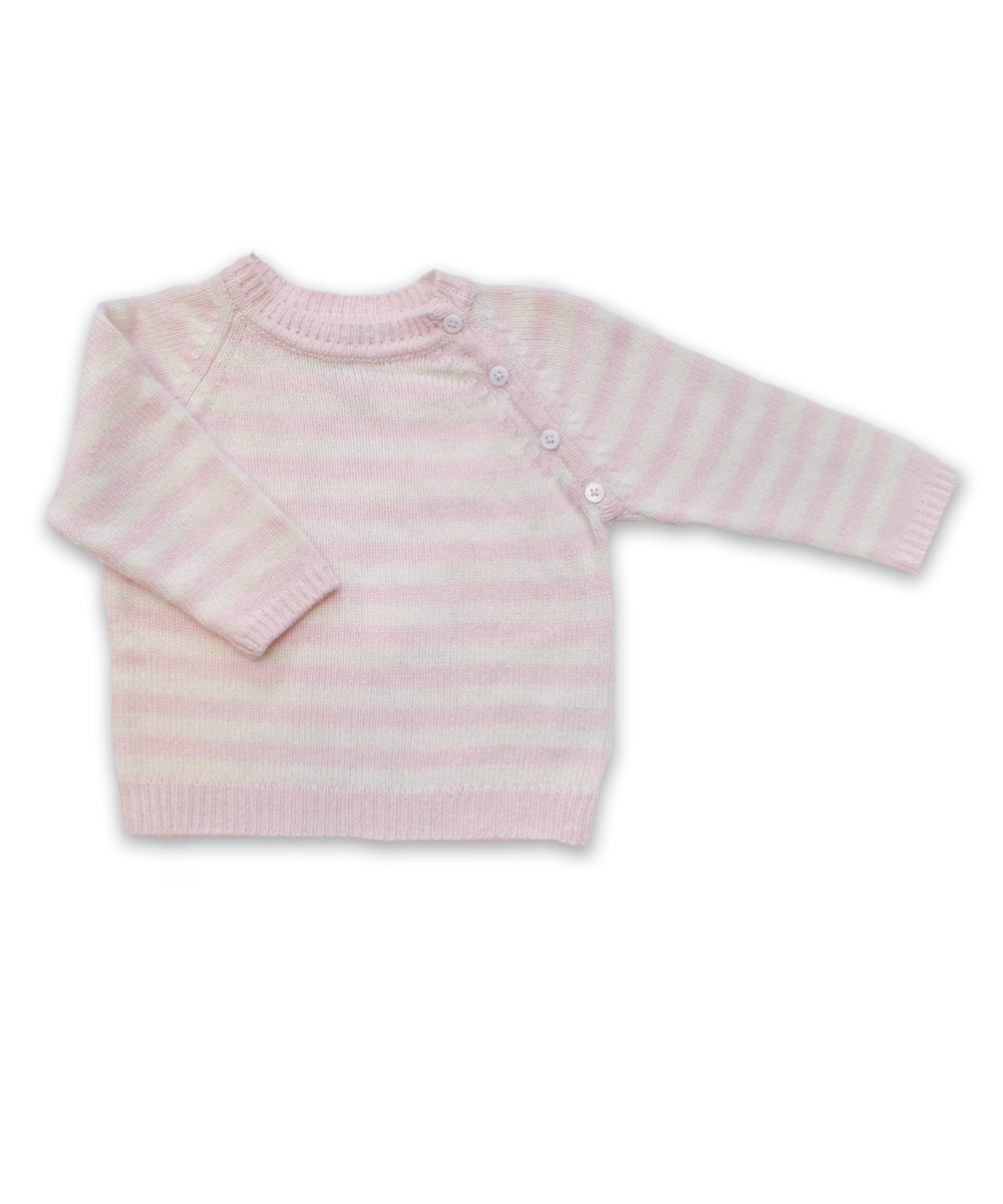Striped Raglan Sweater in Pink and Creme