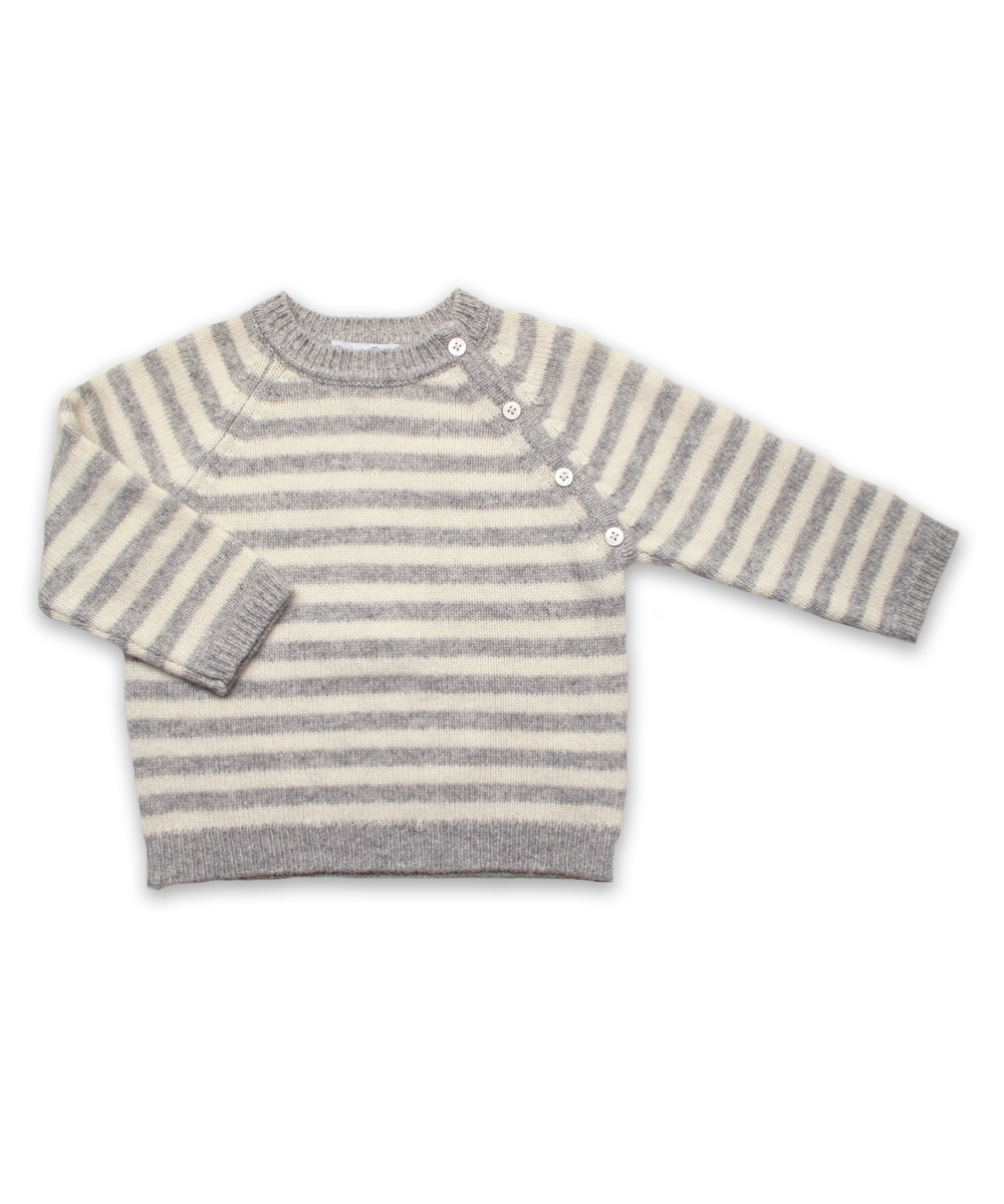 Cashmere Raglan Sweater in Silver/Creme