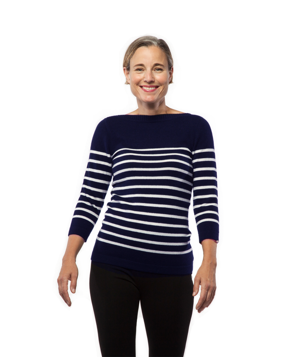 Nautical Stripe Sweater in Navy and Creme