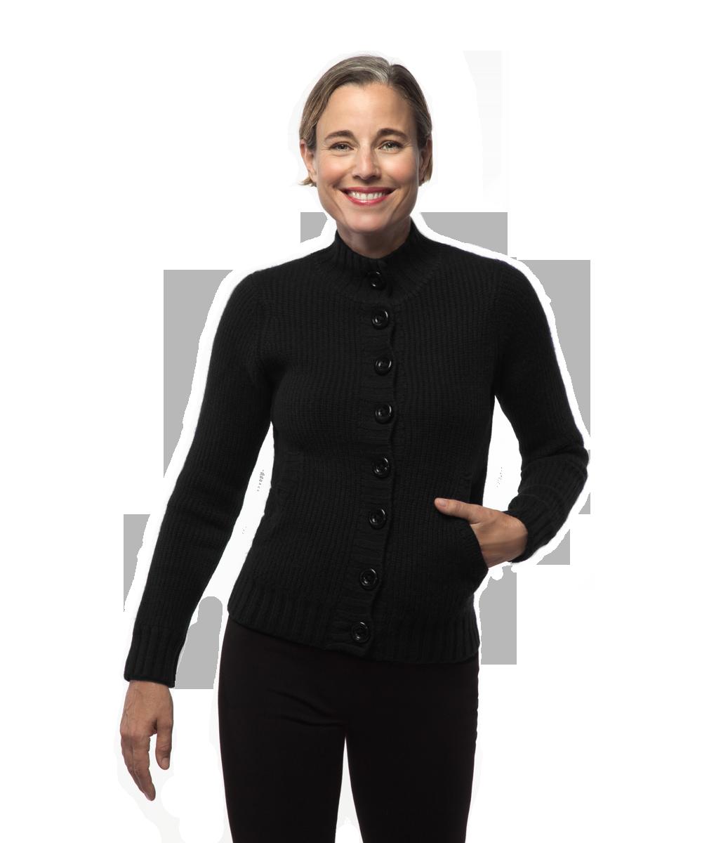 Mock Neck Jacket in Black