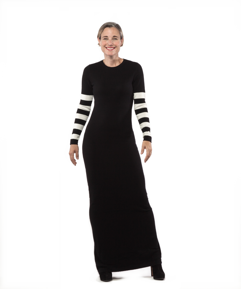 Maxi Dress with Stripe Sleeves in Black and Creme