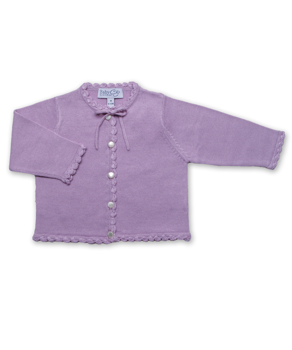 Cotton cardigan with Crochet in Lavender