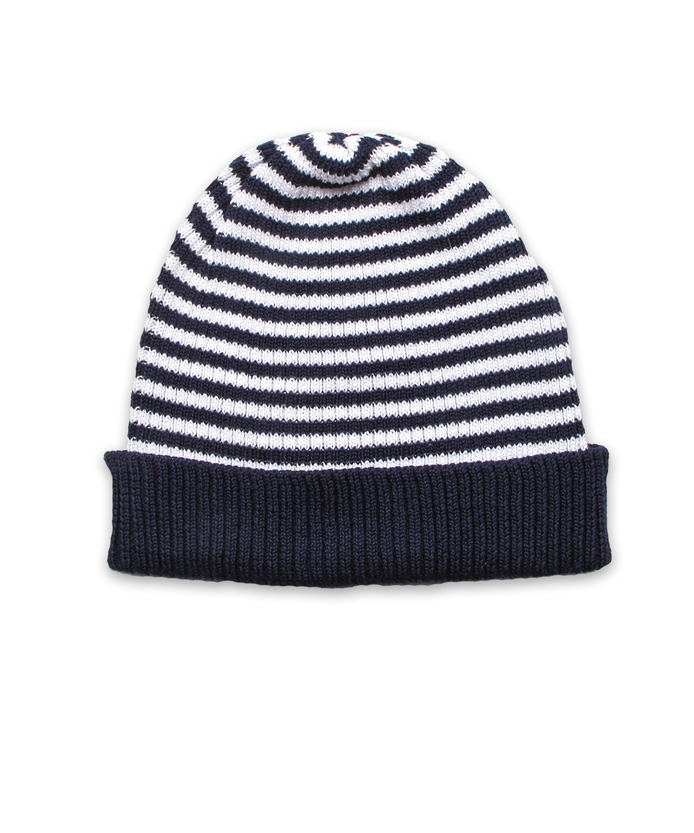 Tiny Striped Hat in Navy-White
