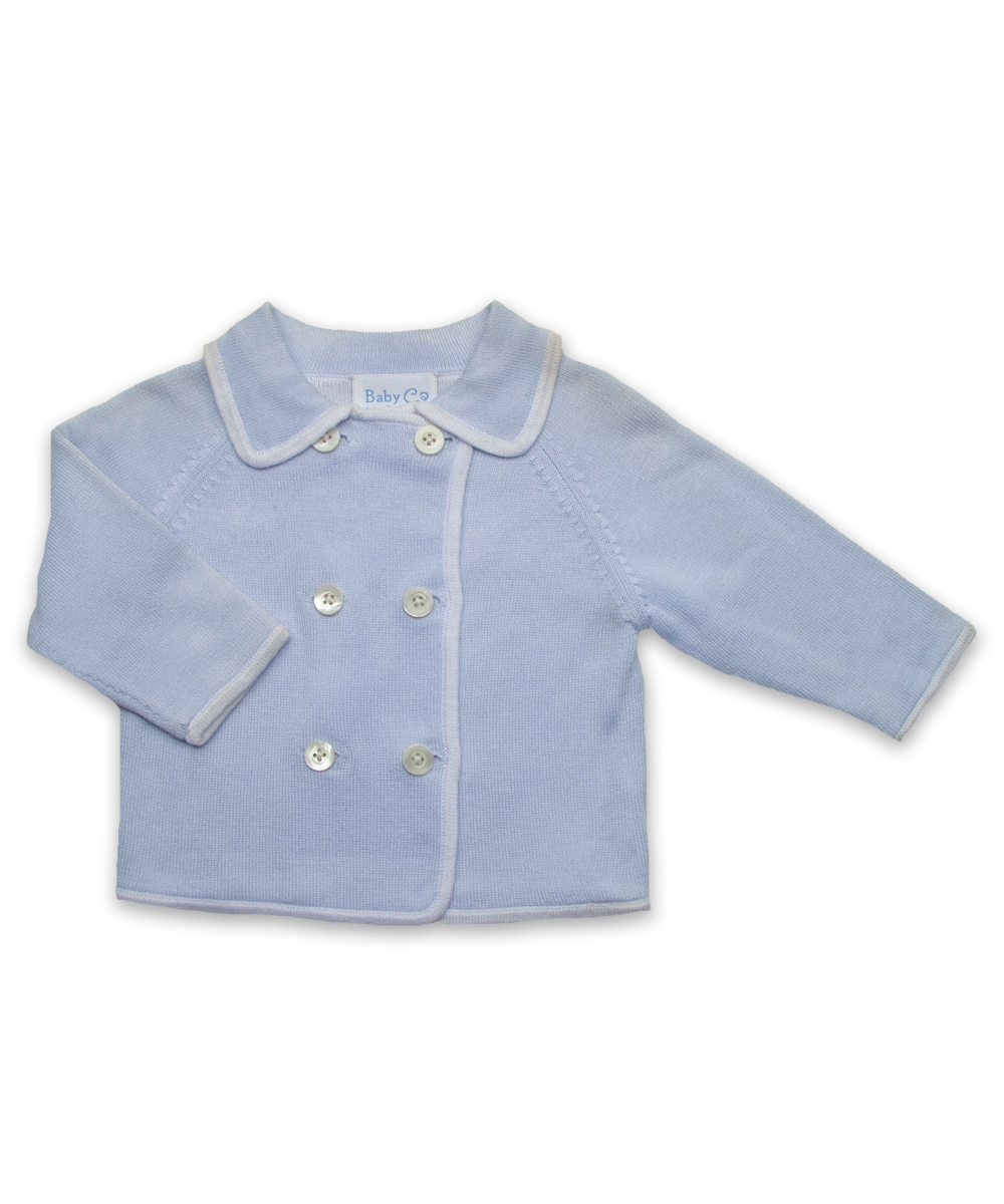 Luxury Cotton Baby Cardigan in Blue/White