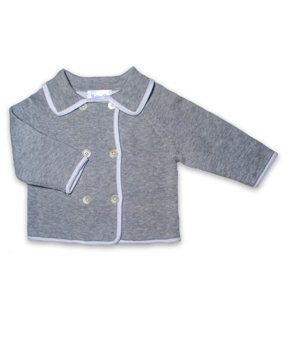 cotton tipped double-breasted cardigan, silver