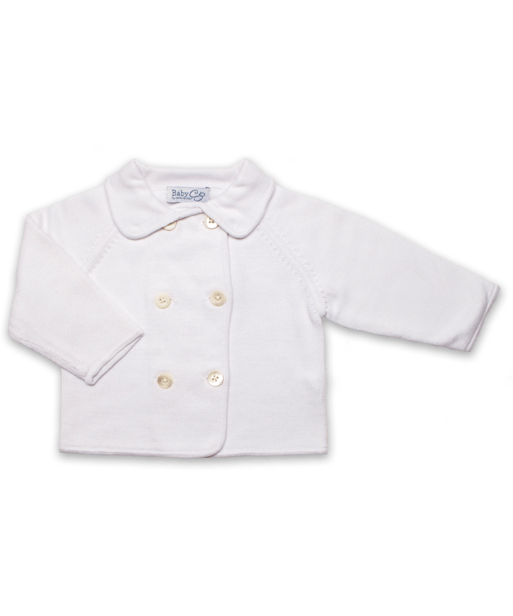Luxury Cotton Baby Cardigan in White