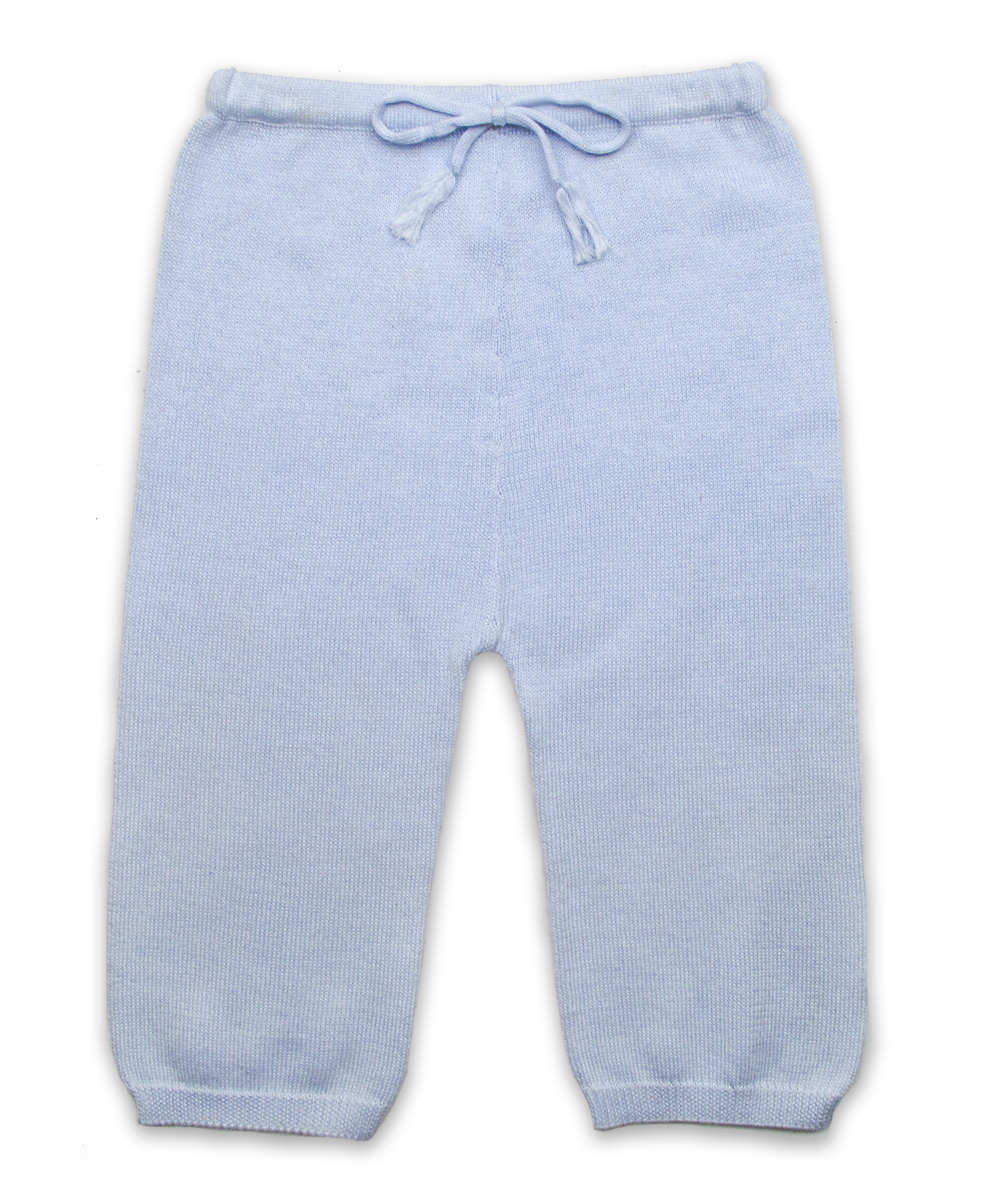 knit cotton pant in blue