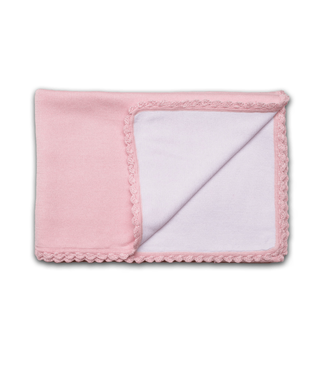 Baby Girl Luxury Cotton Blanket in Pink with Crochet Trim