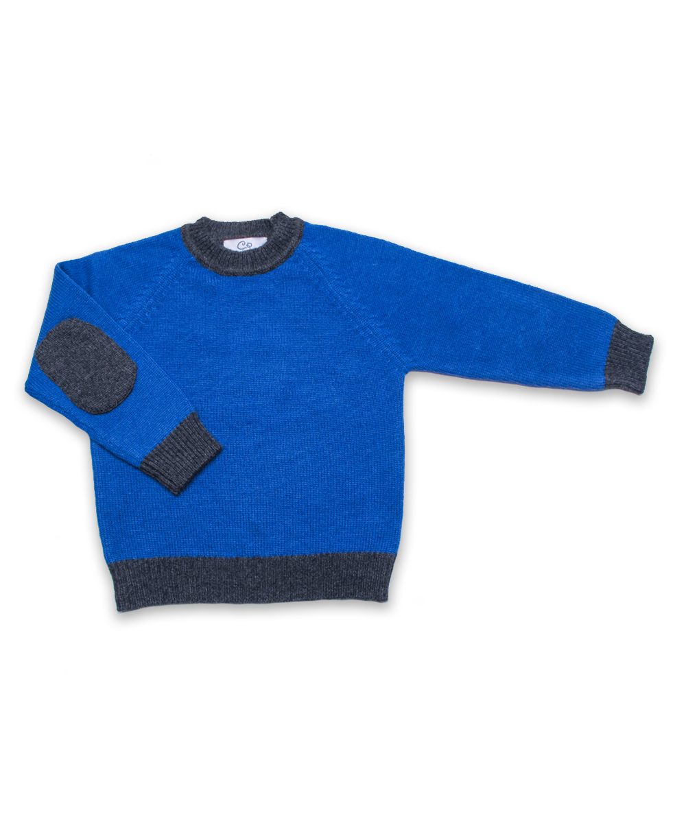 Cashmere Sweater with Elbow Patches in Bright Blue and Derby Gray