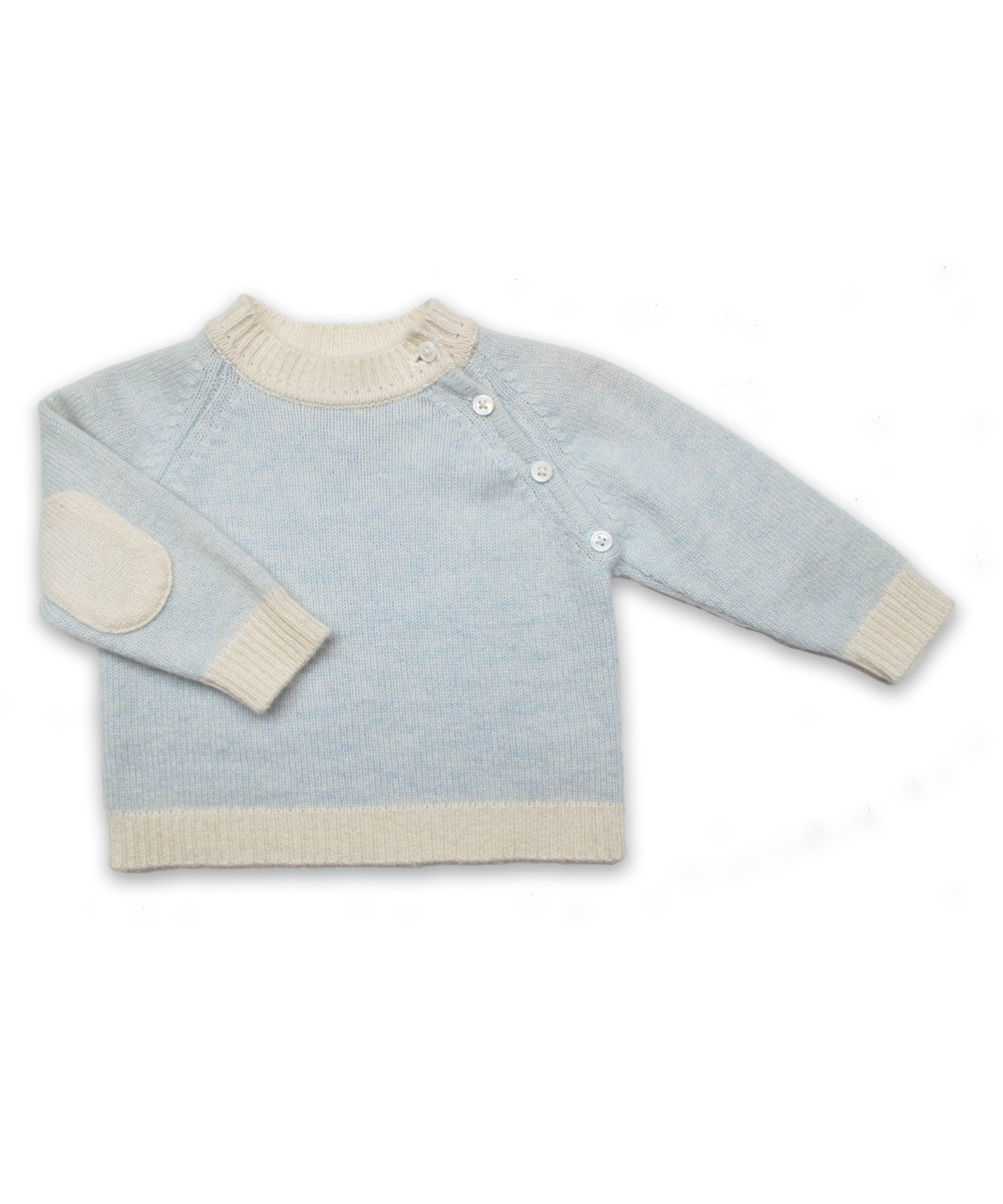 Cashmere Sweater with Elbow Patches in Blue and Creme