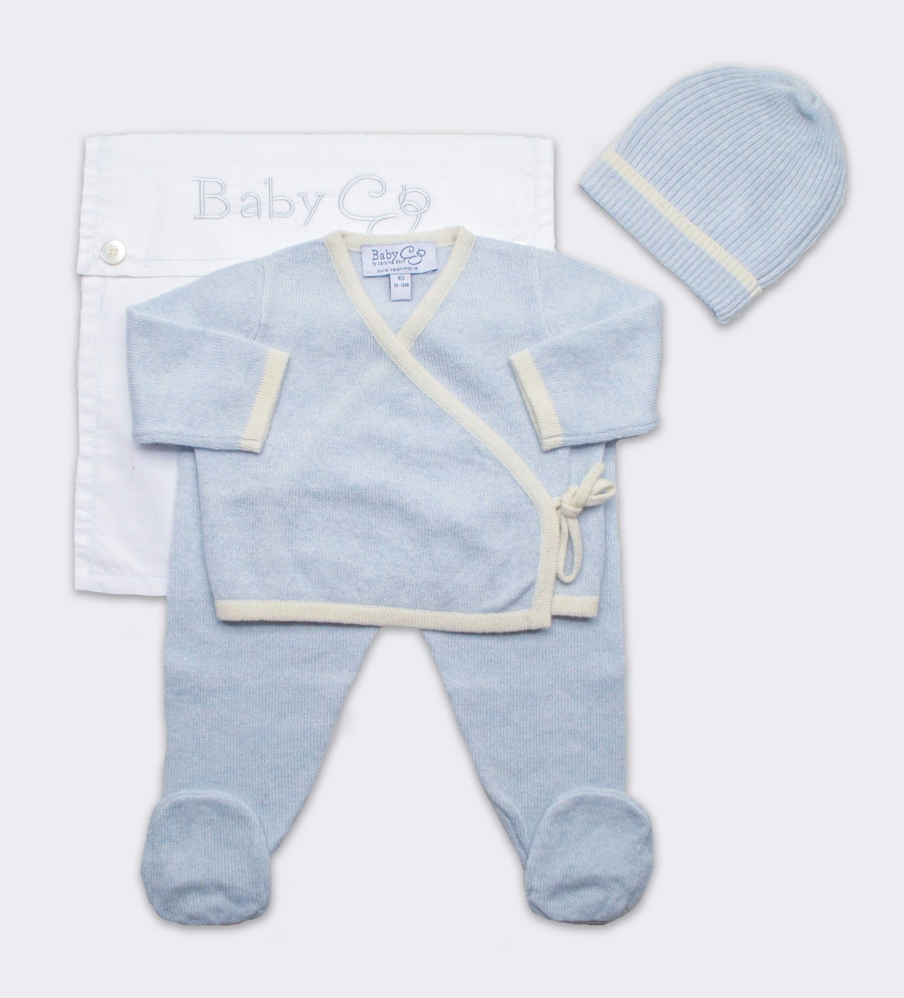 Cashmere Kimono Wrap Set in Blue and Creme